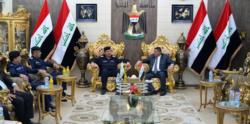 محافظ المثنى يستقبل مدير تفتيش المحافظات في مكتب المفتش العام لوزارة الداخلية