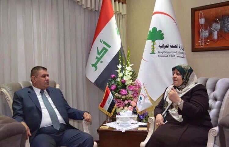 محافظ المثنى يلتقي وزيرة الصحة ويبحث معها الارتقاء بالخدمات الصحية وتعزيزها بالمحافظة